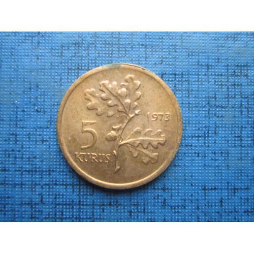 Монета 5 куруш Турция 1973 состояние