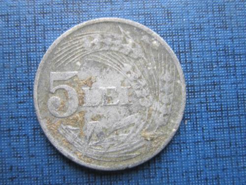 Монета 5 лей Румыния 1942 цинк