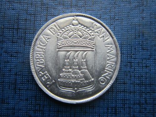 Монета 5 лир Сан Марино 1973 море рыбаки состояние