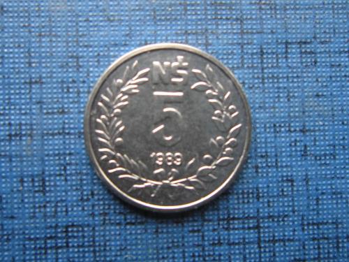 Монета 5 песо Уругвай 1989