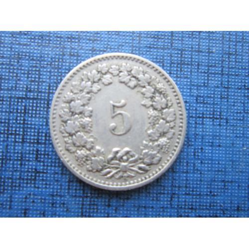 Монета 5 раппен Швейцария 1907