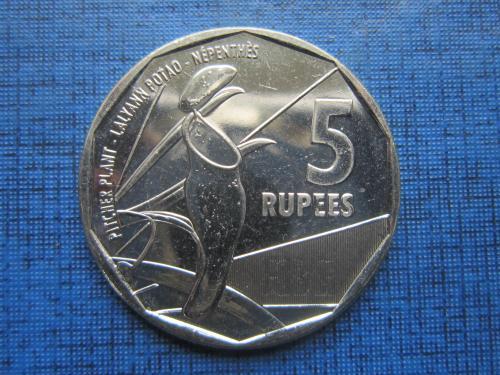 Монета 5 рупий Сейшельские острова Сейшелы 2016 флора растение кувшин состояние