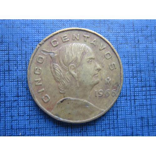 Монета 5 сентаво Мексика 1966 большая