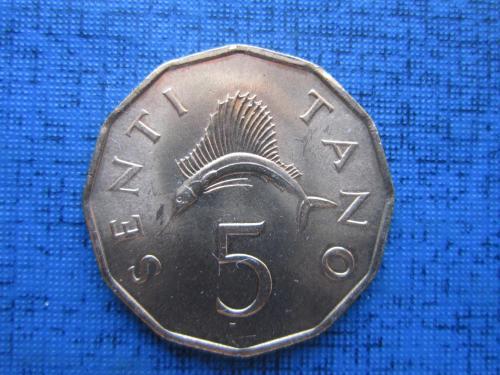 Монета 5 сенти Танзания 1982 фауна рыба состояние