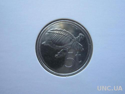 монета 5 тоеа Папуа и Новая Гвинея 2009 фауна черепаха