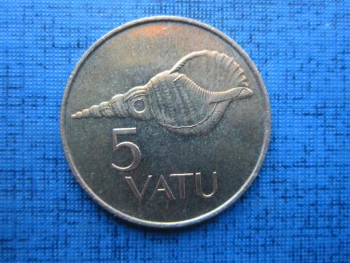 Монета 5 вату Вануату 1999 фауна раковина состояние