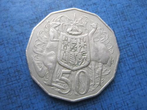 Монета 50 центов Австралия 1981 фауна кенгуру страус