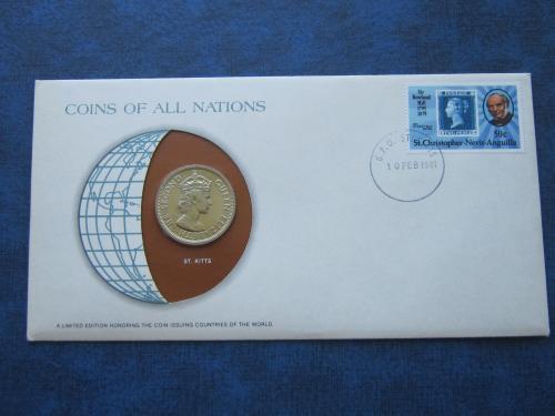 Монета 50 центов Британские Карибские Территории 1965 конверт марка гашение Сент Китс Невис Ангилья