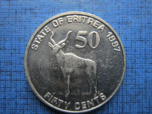 Монета 50 центов Эритрея 1997 фауна антилопа состояние