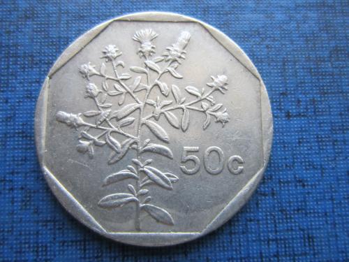 Монета 50 центов Мальта 1992 флора