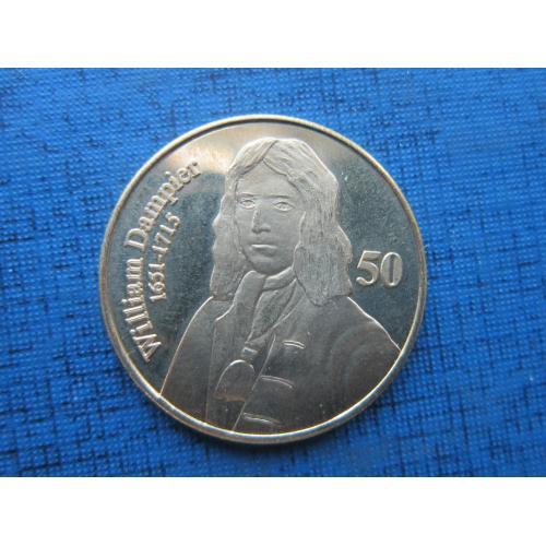 Монета 50 центов Остров Рождества 2016 флот Уильям Дампир мореплаватель капер навигация