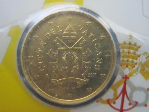 Монета 50 евроцентов Ватикан 2017 в буклете