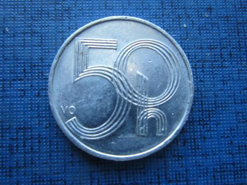 Монета 50 геллеров Чехия 2001