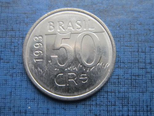 Монета 50 крузейро Бразилия 1993 фауна ягуар состояние