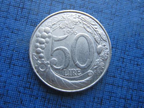 Монета 50 лир Италия 1996 рог изобилия