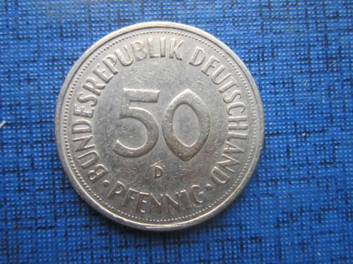 Монета 50 пфеннигов Германия ФРГ 1950 D