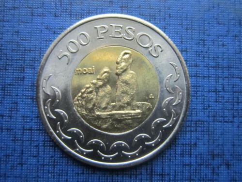 Монета 500 песо Остров Пасхи 2007 Автономия Чили редкая состояние