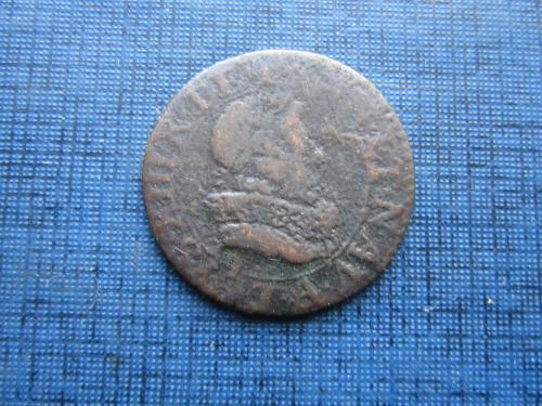 Монета двойной турнуа Франция 1618 Людовик XIII Справедливый в неплохом сохране
