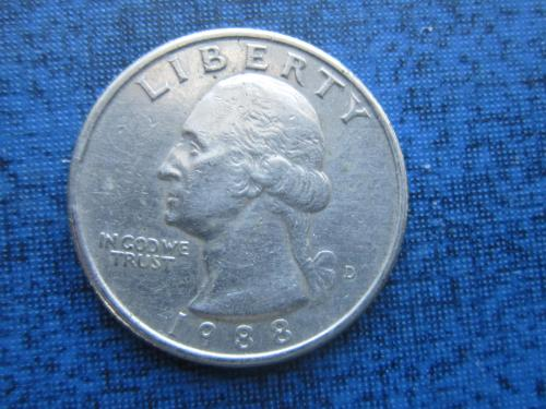 Монета квотер 25 центов США 1988 D