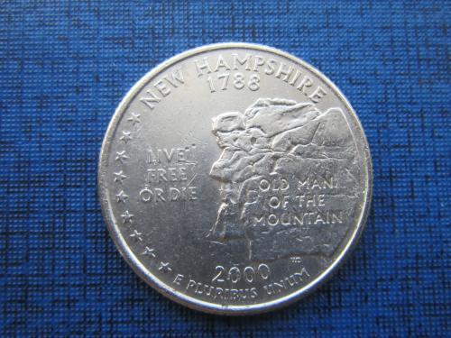 монета квотер 25 центов США 2000 D Нью Гемпшир