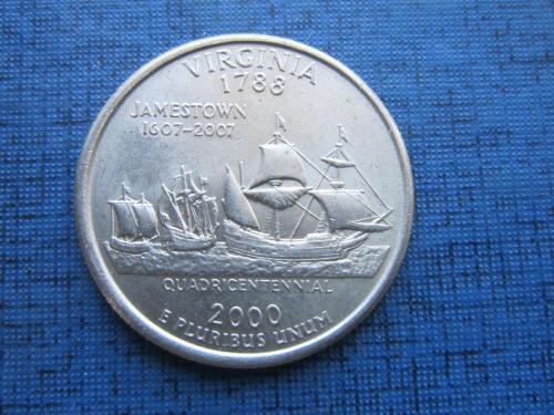 Монета квотер 25 центов США 2000 Р Вирджиния корабль парусник флот
