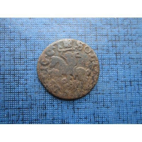 Монета солид шеляг боратинка Польша 1661 всадник Литва Ян Казимир Ваза