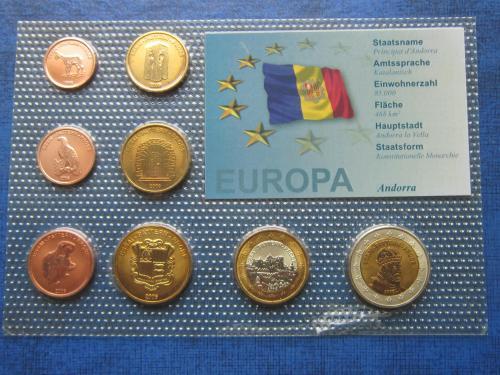 Набор монет 8 штук Андорра 2006 Проба Европроба фауна UNC