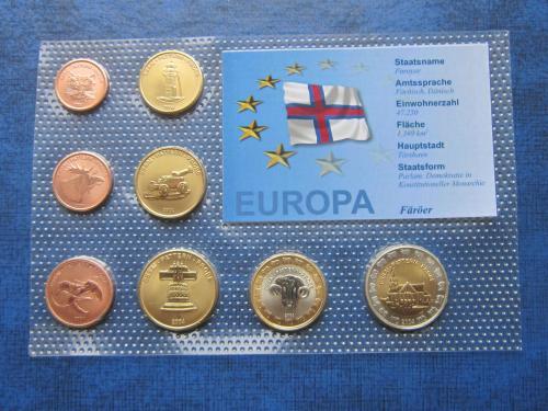 Набор монет 8 штук Фарерские острова 2004 Проба Европроба фауна UNC