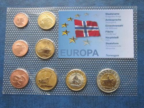 Набор монет 8 штук Норвегия 2004 Проба Европроба фауна транспорт UNC