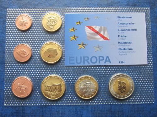 Набор монет 8 штук Остров Эльба 2008 Проба Европроба фауна UNC
