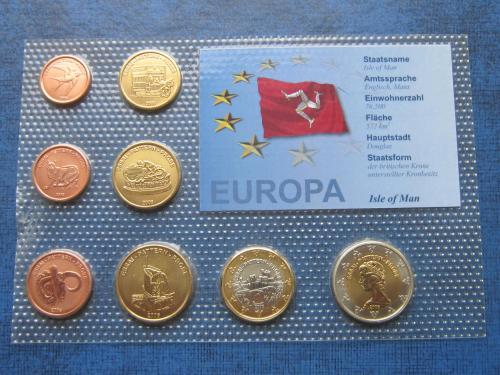 Набор монет 8 штук Остров Мэн 2006 Проба Европроба фауна транспорт UNC