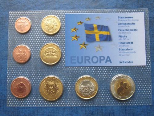 Набор монет 8 штук Швеция 2006 Проба Европроба фауна UNC