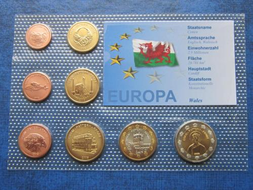 Набор монет 8 штук Уэльс 2006 Проба Европроба фауна транспорт UNC
