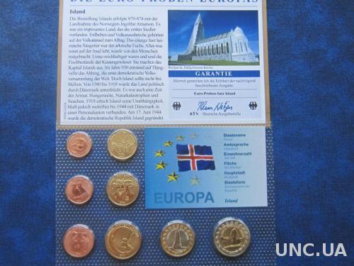Подарочный набор евро Исландия 2004 проба UNC фауна