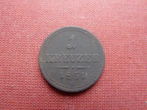 Австро-Венгрия 1 крейцер 1851г.