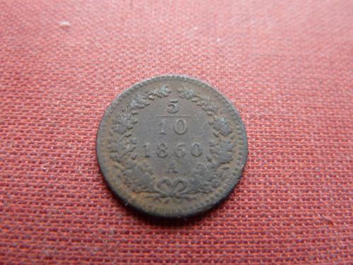 Австро-Венгрия 5/10 крейцера 1860г.СОХРАН