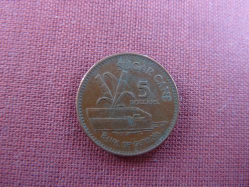 Гайана 5  долларов  1996г.