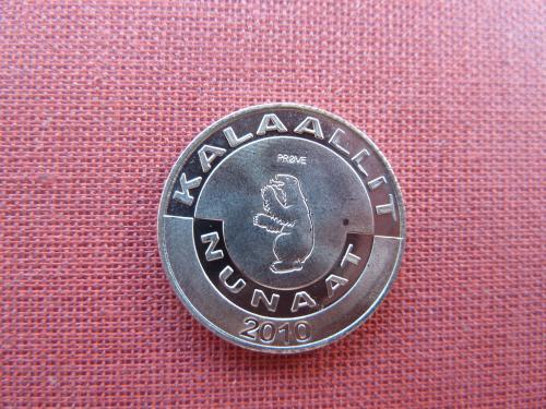 Гренландия 1 крона  2010г. UNC