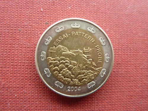 Лихтенштейн 2 евро 2004г. из пробного набора евро пробы редкие