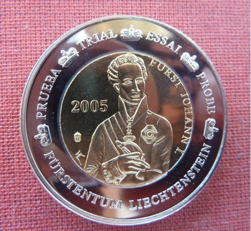 Лихтенштейн 2 евро  2005г. Иоганн I фон Лихтенштейн,из набора европробы , UNC, капсула,биметал