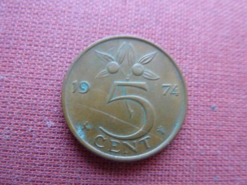 Нидерланды 5 центов 1974г.
