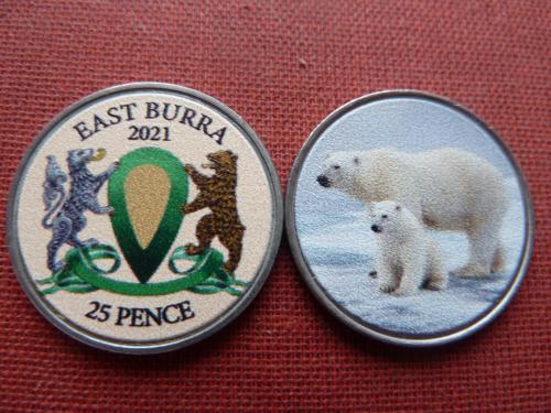 Остров Ист-Берра East Burra 25 пенсов 2021г. цветная тампопечать,UNC Шетландские о-ва