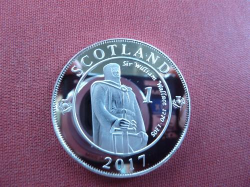 Шотландия 1 риал 2017г. UNC, 40мм, sir William Wallace 1270 - 1305 капсула редкие