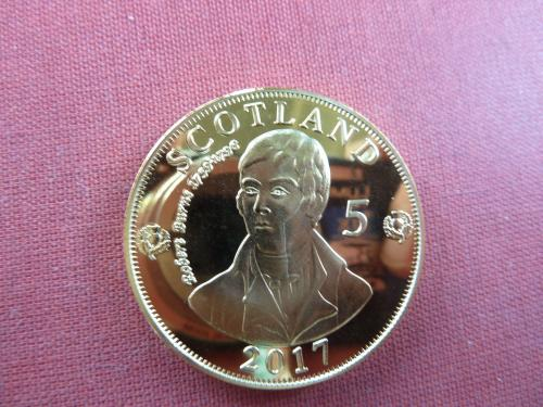 Шотландия 5 риалов 2017г. UNC, 40мм, Robert Burns капсула редкие