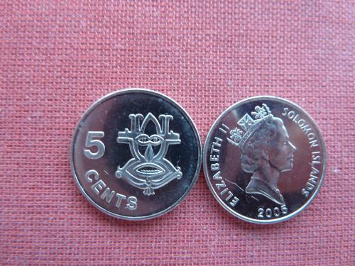 Соломоновы острова 5 центов  2005г. UNC