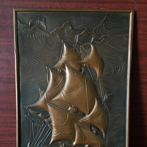 Чеканка морская Бригантина корабль кораблик СССР