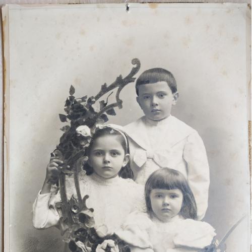 Фото Дети 1896-1899 годы Мальчик Девочка Одежда Мода Цветы Винтаж