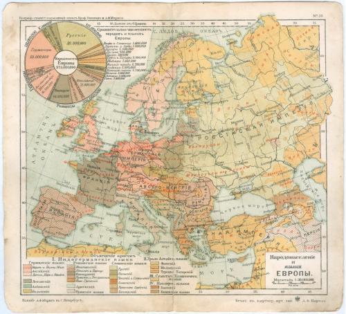 Карта Европа Народонаселение Литография Изд. Маркса С. Петербург Картографическое заведение 1903 г.
