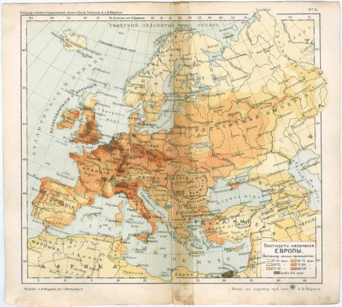 Карта Европа Население Литография Изд. Маркса С. Петербург Картографическое заведение 1903 год
