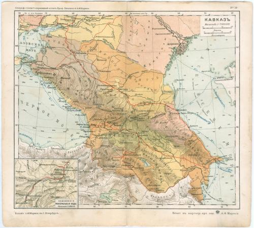 Карта Кавказ Литография Изд. Маркса С. Петербург Картографическое заведение 1903 год